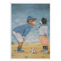 Carte Deux chats et un ballon - Christel Le Vaillant