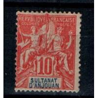 Timbres du Sultanat d'Anjouan - Numéro 14 - Neuf avec charnière
