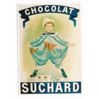Carte chocolat Suchard garçon en vert - Editions Clouet