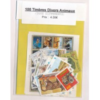 Lots de 100 Timbres Divers Animaux PT038