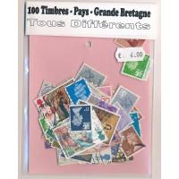 Lot de 100 Timbres de Grande Bretagne PT019