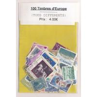 Lot de 100 Timbres d'Europe PT025